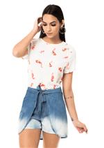 Shorts Saia Jeans com Amarração