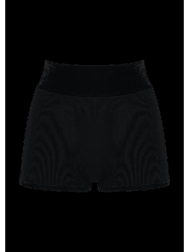 Shorts Tricô Cós Veludo Preto G