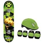 Skate Cat Noir com Acessórios de Segurança - Fun Divirta-se