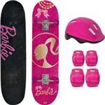 Skate Infantil Fun com Acessórios de Segurança - Barbie Dourada