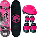 Skate Infantil Fun com Acessórios de Segurança - Barbie Preto/rosa