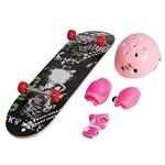 Skate Infantil + Kit Segurança Azul Rosa Vermelho Unitoys - Rosa