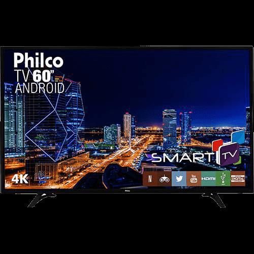 "Smart TV LED 60"" Philco PH60D16DSGWN Ultra HD 4k com Conversor Digital 3 HDMI 2 USB Wi-Fi 60Hz Preta"