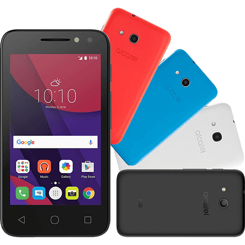 "Smartphone Alcatel PIXI4 Colors Dual Chip Android 6.0 Tela 4"" Memória 8GB 3G Câmera 8MP Selfie 5MP Flash Frontal Quad Core - Preto"