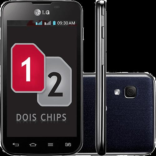 "Smartphone LG OpTimus L5 II Dual Chip Desbloqueado Android 4.1 Tela 4"" 4GB 3G Wi-Fi Câmera 5MP - Preto"