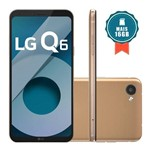 """Smartphone LG Q6 32GB 4G Tela 5.5"""" Câmera 13MP Rose Gold + Cartão SD 16GB"""