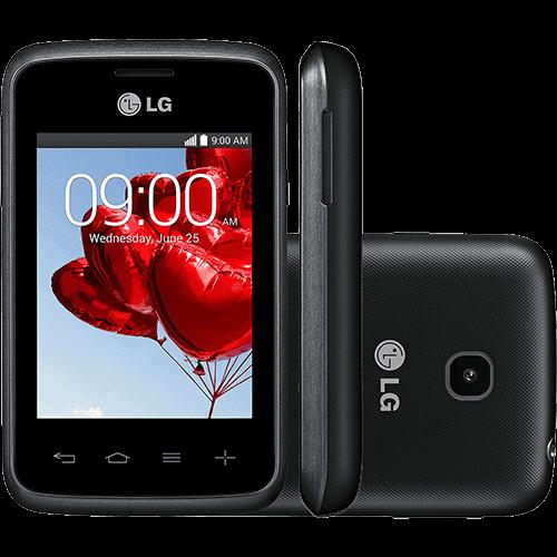"Smartphone LG Triple L20 D107 Android 4.4 Tela 3"" 4GB 3G Wi-Fi Câmera 2MP - Preto e Grafite"
