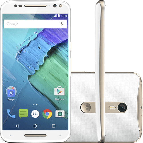 "Smartphone Motorola Moto X Style Dual Chip Android 5.1 Tela 5.7"" 32GB 4G Câmera 21MP - Branco e Dourado"