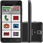 "Smartphone Multilaser MS50 Dual Chip Android Lollipop 5.0 Tela 5"" Quad Core 8GB 3G Câmera 5MP - Preto"