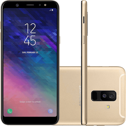 """Smartphone Samsung Galaxy A6+ Dual Chip Android 8.0 Tela 6"""" Octa-Core 1.8GHz 64GB 4G Câmera 16MP F1.7 + 5MP F1.9 (Dual Cam) - Dourado"""