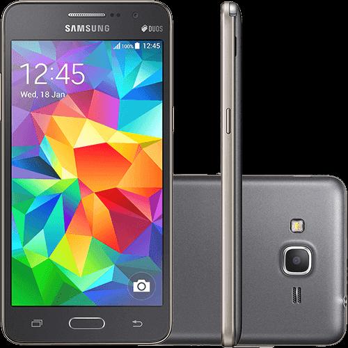 "Smartphone Samsung Galaxy Gran Prime Duos Chip Desbloqueado Claro Android 4.4 Kit Kat Tela 5"" 8GB 3G Câmera 8MP - Cinza"