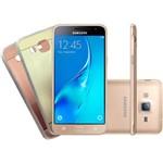 """Smartphone Samsung Galaxy J3 2016 Dual Chip Desbloqueado Android Tela 5"""" 8GB 3G/4G/Wi-Fi Câmera 8MP + 1 Capa Dourado/ 1 Capa Rosê - Dourado"""