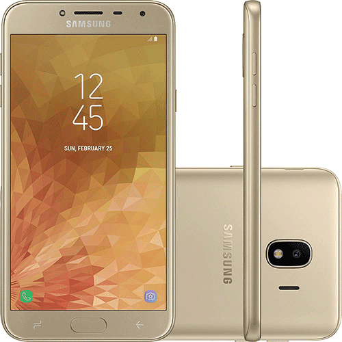 "Smartphone Samsung Galaxy J4 32GB Dual Chip Android 8.0 Tela 5.5"" Quad-Core 1.4GHz 4G Câmera 13MP - Dourado"