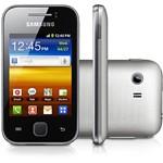 """Smartphone Samsung Galaxy Y Desbloqueado Tim Prata - Android Processador 832MHz Tela Touch 3"""" Câmera 2MP 3G Wi-Fi Cartão Micro SD 2GB"""
