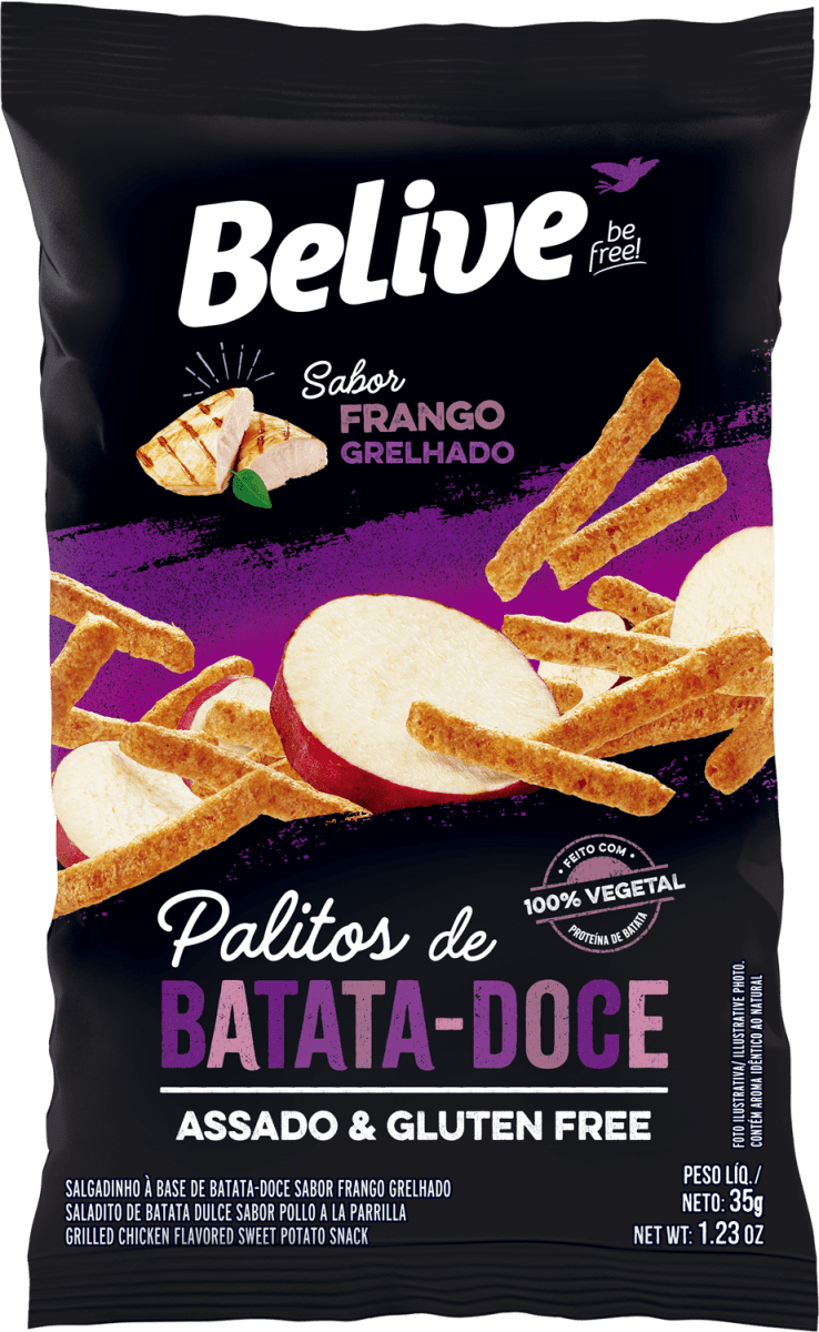 Snack de Batata Doce Sabor Frango Grelhado 35g - Belive