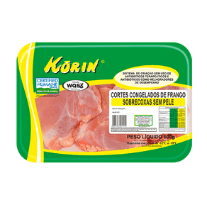 Sobrecoxa de Frango Korin Sem Pele Congelada 600g (Bandeja)