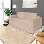 Sofá 3 Lugares Retrátil e Reclinável com Pillow, Modelo Andria, Tecido Linhares Bege, Silla