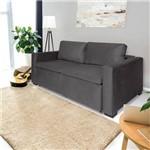 Sofá 3 Lugares Retrátil e Reclinável com Pillow, Modelo Andria, Tecido Suede Veludo Cinza, Silla