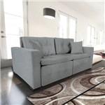 Sofá 3 Lugares Retrátil e Reclinável com Pillow, Modelo Pilar, Tecido Linhares Cinza, Silla