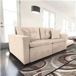 Sofá 3 Lugares Retrátil e Reclinável com Pillow, Modelo Pilar, Tecido Suede Veludo Bege, Silla