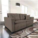 Sofá 3 Lugares Retrátil e Reclinável com Pillow, Modelo Pilar, Tecido Suede Veludo Taupe, Silla