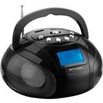 Som Portátil Multilaser Boombox com Rádio FM Entrada USB e SD Potência 10W - Preto