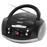 Som Portátil Philco Ph61 com CD Player Rádio FM MP3 AUX IN - Cinza/Preto
