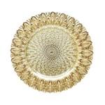 Sousplat de Vidro Dourado 33cm Bodrum 3794 Lyor