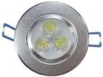 Spot de Embutir LED 3W Redondo Borda Prateada Bivolt Power XL