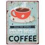 Start With Coffee Placa Decor. 40x30 Multicor