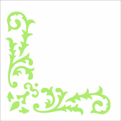 Stencil 10x10 Simples 2327 Cantoneira Arabesco Folhas