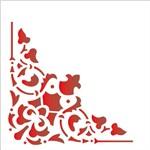Stencil 14x14 Simples 1733 Cantoneira Arabesco Cruz