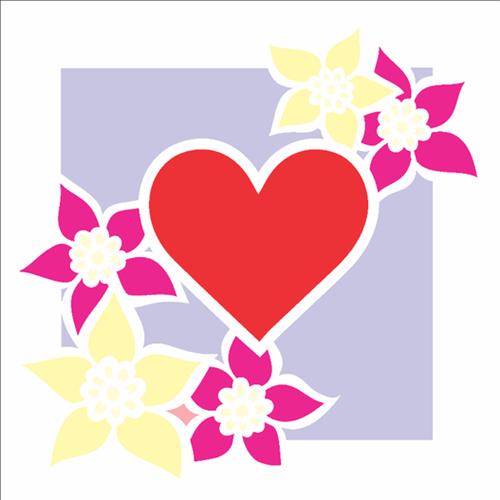 Stencil 14x14 Simples 2437 Moldura Flor e Coração