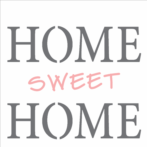 Stencil 14x14 Simples 2337 Frase Home Sweet Home