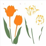 Stencil de Acetato para Pintura Opa 30,5 X 30,5 2371 Flor Tulipa