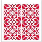 Stencil de Acetato para Pintura Opa 20 X 25 Cm - 2057 Estampa Flora Coração