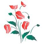 Stencil de Acetato para Pintura Opa 20 X 25 Cm - 1047 Flores Papoulas
