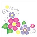 Stencil de Acetato para Pintura Opa 14 X 14 Cm - 1136 Cantoneira Flores Iii