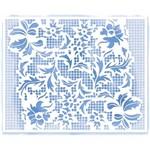 Stencil Litoarte 20,5x16,6 STA2-028 Arranjo de Flores Rendado