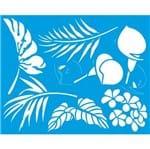 Stencil Litoarte 20 X 25 Cm - STR-046 Flores Tropicais Sobreposição