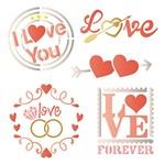Stencil Litoarte 20x20 STXX-103 Love Selos e Arranjo