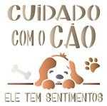 Stencil Litoarte 20x20 STXX-107 Cuidado com o Cão