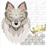 Stencil Litoarte 20x20 STXX-139 Lobo Coroa e Arabescos