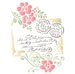 Stencil Litoarte 21,1x17,2 STM-592 Carta Selo Flores
