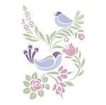 Stencil Litoarte 34,4x21 ST-028 Flores e Pássaros
