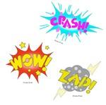 Stencil Litoarte 34,4x21 ST-410 Balões Wow! Crash! Zap!