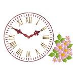 Stencil Litoarte 34,4x21 ST1-022 Relógio com Flores