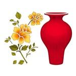Stencil Litoarte 25x20 STR-022 Vaso e Flor
