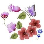 Stencil Litoarte 25x20 STR-007 Flores e Borboleta