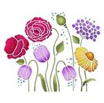 Stencil Litoarte 25x20 STR-009 Jardim de Flores